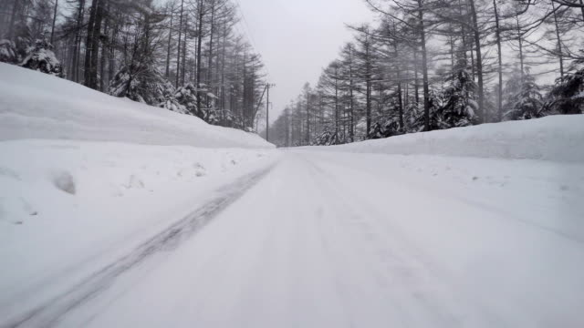 Snowy winter road drive video