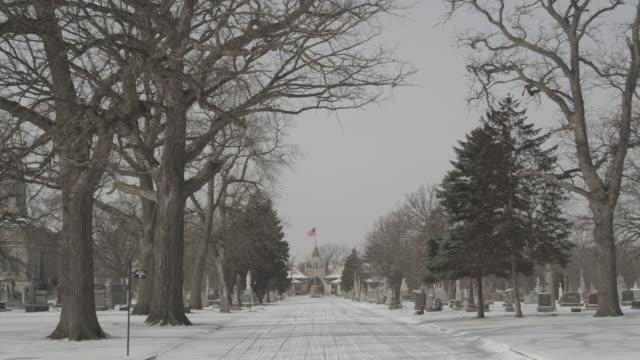 snowy_cemetary_static - gargoyle video stock e b–roll