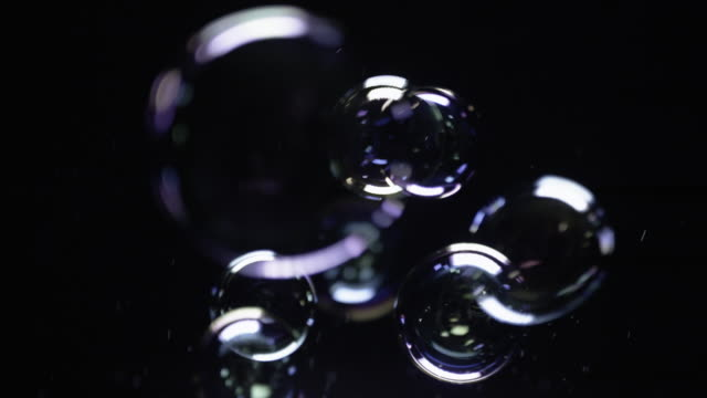 Soap Bubbles on Black Background video