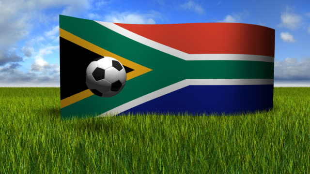 vídeos de stock, filmes e b-roll de futebol 3d bandeira da áfrica do sul - futebol internacional