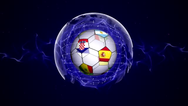 soccer ball and world flag in blue abstract particles ring, animation, background, loop - banner internetowy filmów i materiałów b-roll