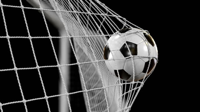 8676f566c Soccer Ball flies into Goal Net in Slow Motion. Beautiful Football 3d  animation of the