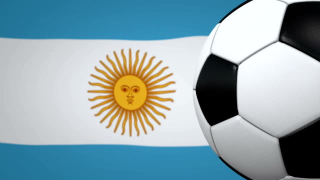 Soccer ball loop with Argentinian flag background video