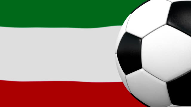 Soccer ball loop with Iranian flag background