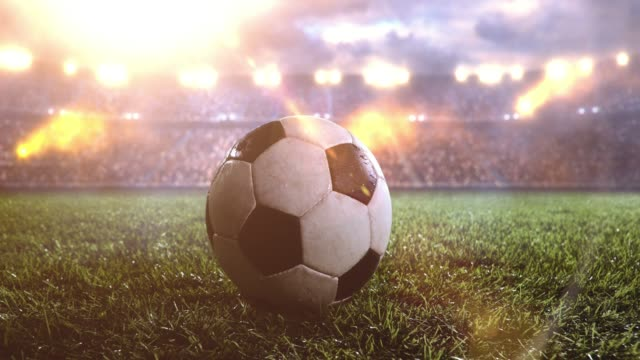 Soccer ball on soccer stadium video