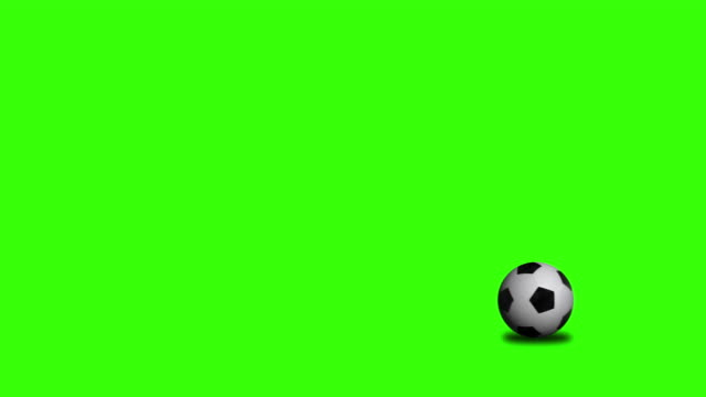 Soccer ball rolling on chroma key video