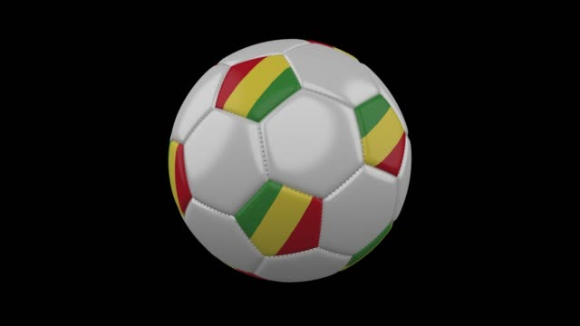 Soccer ball with flag Congo loop 4k with alpha video