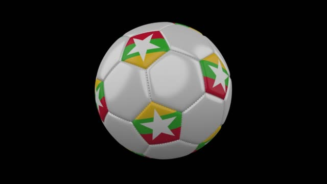 soccer ball with flag myanmar, loop, 4k with alpha - naypyidaw video stock e b–roll
