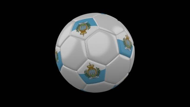 stockvideo's en b-roll-footage met voetbal met vlag san marino, lus alpha - kampioenschap