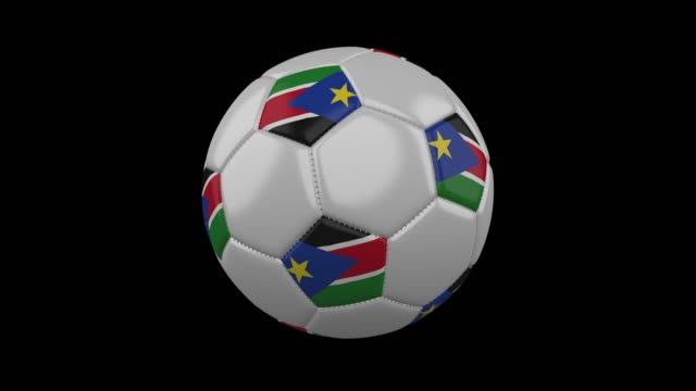 soccer ball with flag south sudan loop 4k with alpha - sudan del sud video stock e b–roll