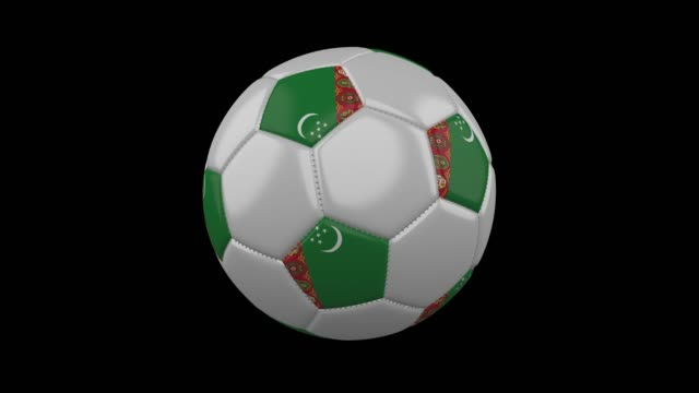 Soccer ball with flag Turkmenistan, alpha loop Soccer ball with the flag of Turkmenistan colors rotates on transparent background, 3d rendering, prores footage with alpha channel, loop turkmenistan stock videos & royalty-free footage
