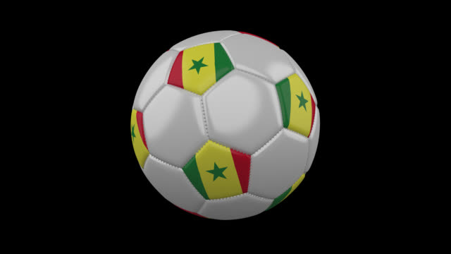 soccer ball with senegal flag colors rotates on transparent background, 3d rendering, prores 4444 with alpha channel, loop - dakar video stock e b–roll