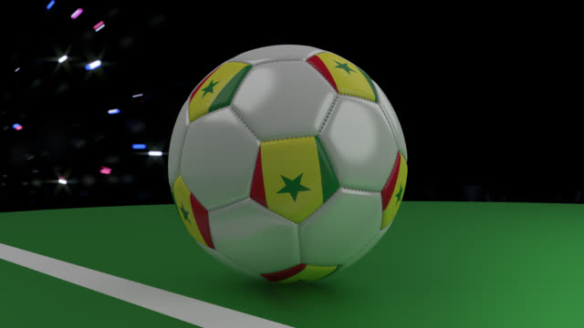 Soccer ball with the flag of Senegal crosses the goal line under the salute, 3D rendering Soccer ball with the flag of Senegal crosses the goal line under the salute, 3D rendering senegal stock videos & royalty-free footage