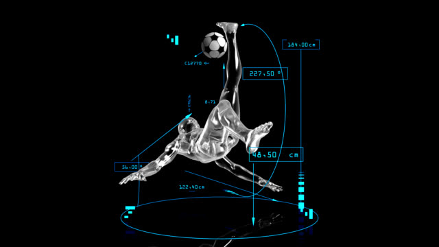 3D soccer bicycle kick man with technical data