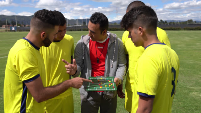 soccer coach explaining the line up on board while talking strategies - allenatore video stock e b–roll