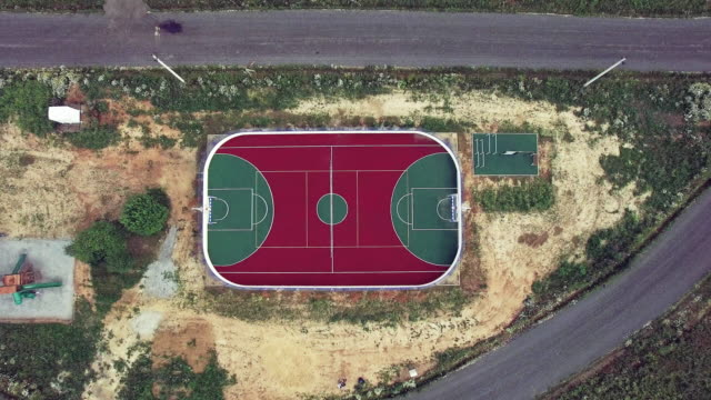 Soccer field - aerial view video
