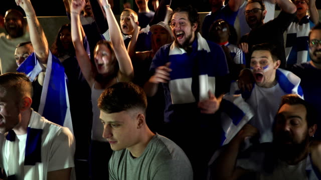 4K: Soccer / Football fans and supporters in Stadium celebrating goal being scored video