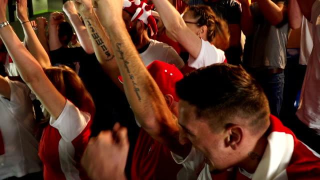 Soccer / Football fans in Stadium celebrate goal being scored - Super Slow Motion video