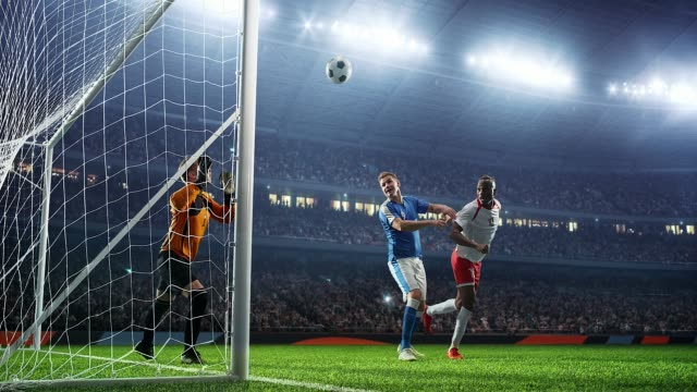 Soccer game moment on a professional soccer stadium. Stadium and crowd is made in 3D and animated Soccer game moment scoring a goal stock videos & royalty-free footage