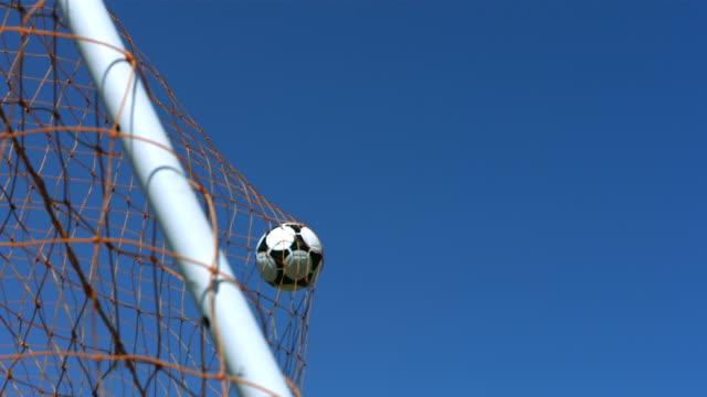 Soccer goal, slow motion video