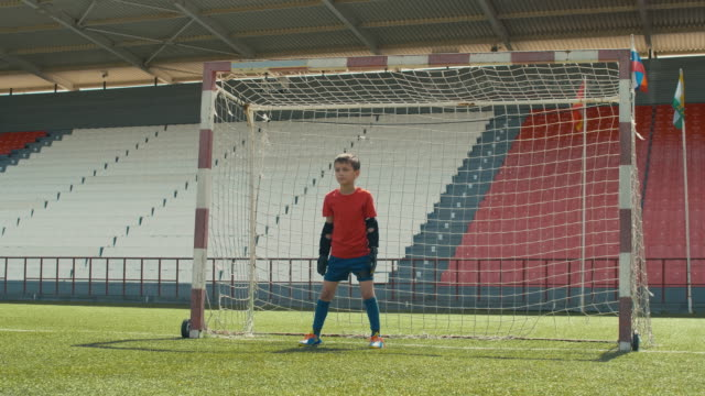 Soccer goalie protecting his goal net Little professional soccer goalie waiting for ball on his post, jumping and turning the ball away goal post stock videos & royalty-free footage