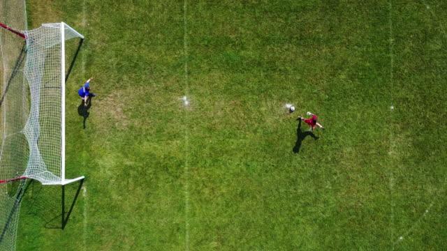 soccer goalkeepers - penalty kick, bird eye view - football field stock videos & royalty-free footage