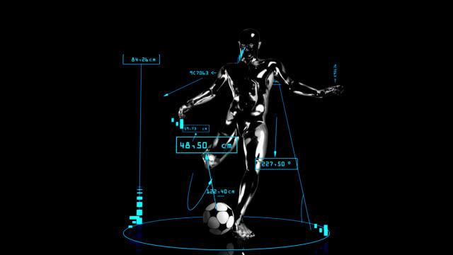 3 d uomo di calcio calcio con dati tecnici - balance graphics video stock e b–roll