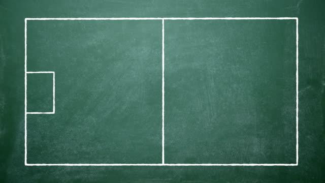 vídeos y material grabado en eventos de stock de estrategia de tácticas de juego de fútbol dibujada en tablero de tiza - estrategia