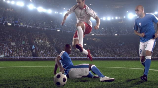 Soccer player makes a jump