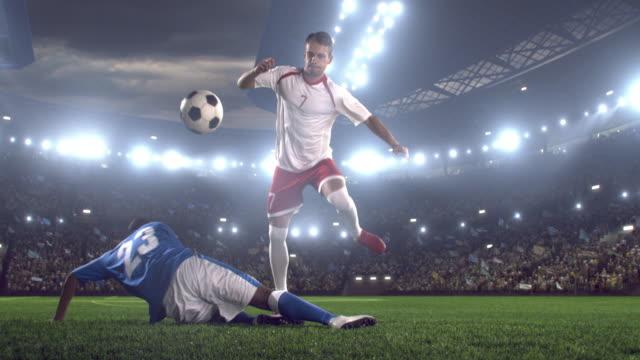 Soccer players on stadium video