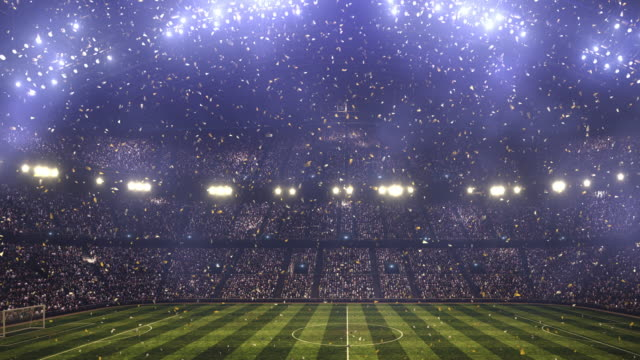 Soccer stadium confetti and lights video