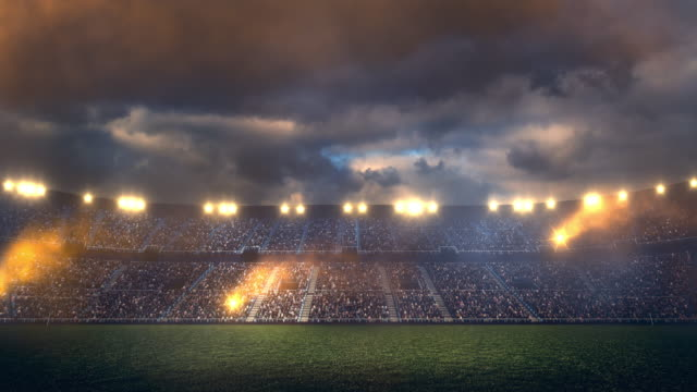 Soccer stadium flare stacks and lights video