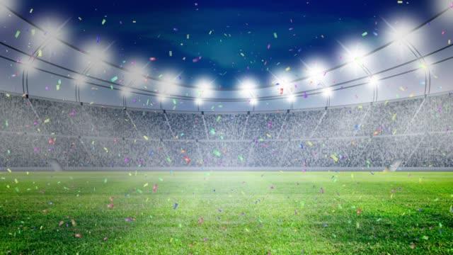 Soccer stadium lights and confetti Celebrate video