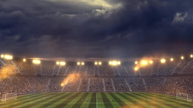 Soccer stadium under dramatic sky video