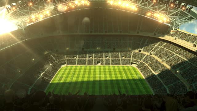 Soccer stadium with sunlight and stadium lights video