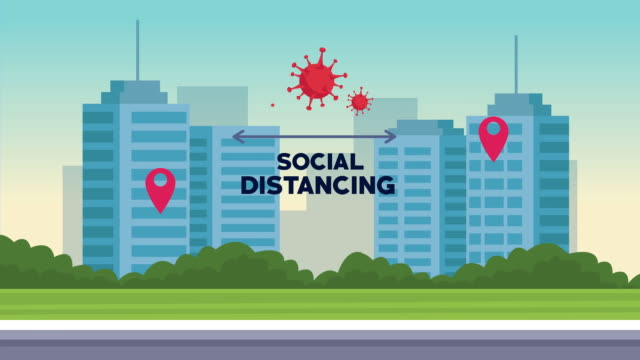 Bидео social distancing campaign with cityscape scene