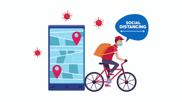 Bидео social distancing campaign with cyclist delivery worker and smartphone