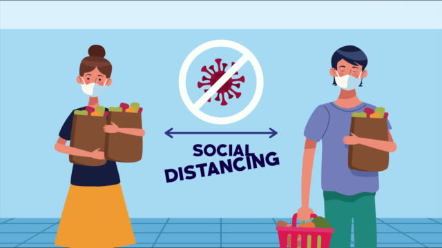 Bидео social distancing campaign with supermarket customers