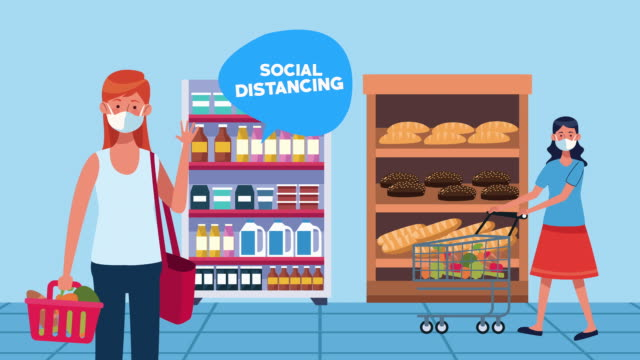 Bидео social distancing campaign with supermarket female customers