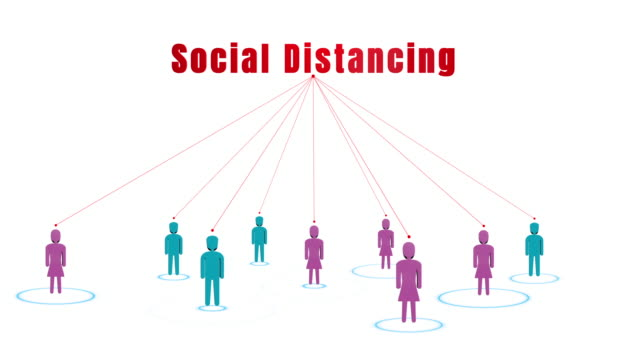 Social distancing concept, keep distance in public society people to control the spread of the coronavirus (COVID-19) and safety of pandemic infections in every country around the world.