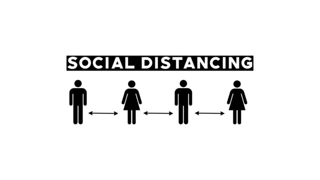 Social Distancing Graphic Concept Social Distancing Graphic Concept covid icon stock videos & royalty-free footage