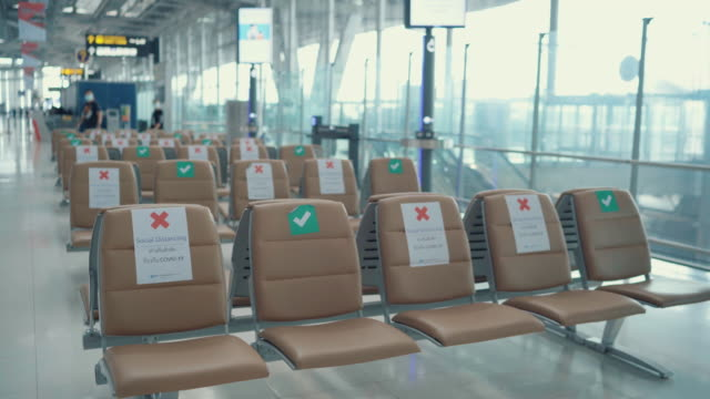 social distancing in airport New Normal : Social Distance in airport , Empty Airport in bangkok thailand covid icon stock videos & royalty-free footage