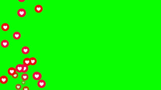 Social love heart icon animation with optional luma matte. Alpha Luma Matte included. Loopable Chroma key.4k video.