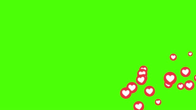 Video social love heart icon symbol animation across on green screen