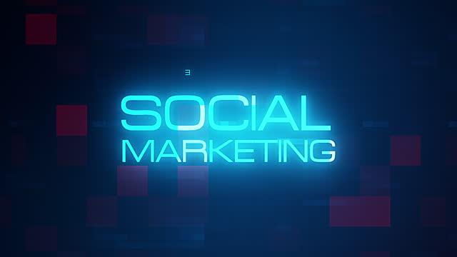 vídeos de stock, filmes e b-roll de marketing social animação nuvem de palavras, animação de design de texto. 4k 3d renderizando a tag cloud de marketing social, animação de texto de tipografia cinética sobre a moderna tecnologia digital futurista para título de introdução. - tag