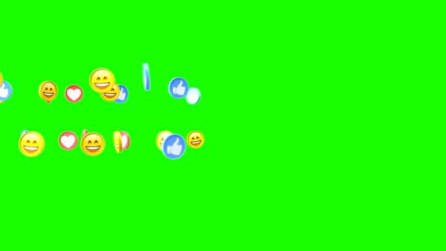 sociala medier 3d ikoner leende fingrar och hjärtan på grön skärm chromakey bakgrund - sociala frågor bildbanksvideor och videomaterial från bakom kulisserna