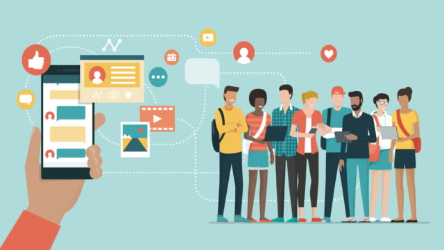 vídeos y material grabado en eventos de stock de aplicación de los medios sociales y redes sociales - compartir