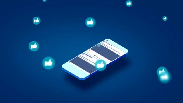 4k social media apps on a smartphone - icona mi piace video stock e b–roll