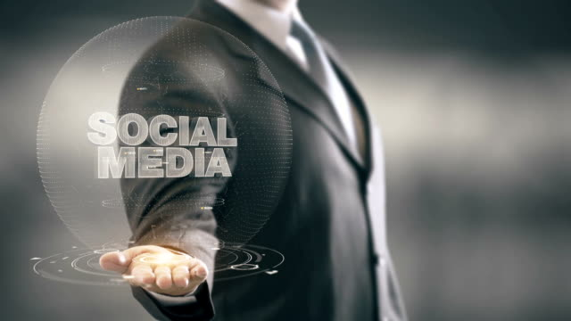 Social Media Businessman Holding in Hand New technologies