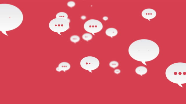 vidéos et rushes de commentaires des médias sociaux flying up looped red background - bulle